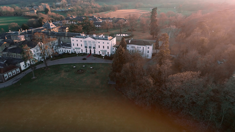 Drone shot of Beaumont Estate in Windsor