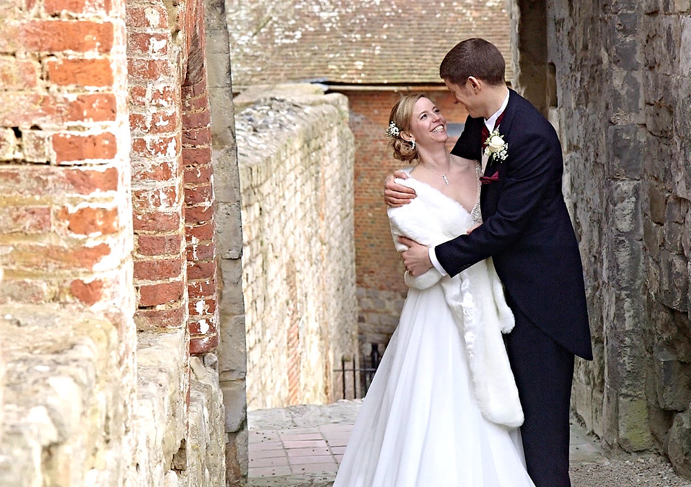 wedding couple at farnham castle