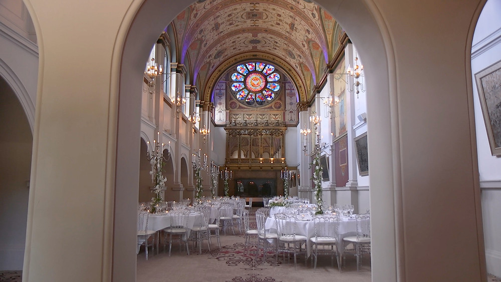 photo of the chapel at beaumont estate in windsor set up for a wedding