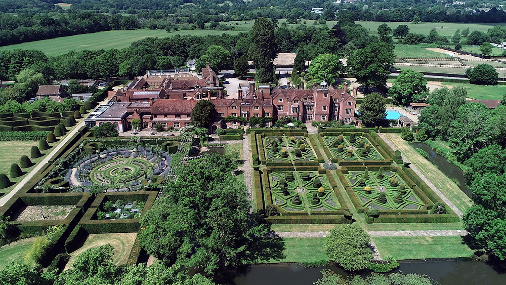 drone shot on the gardens at great fosters taken by w4 wedding films
