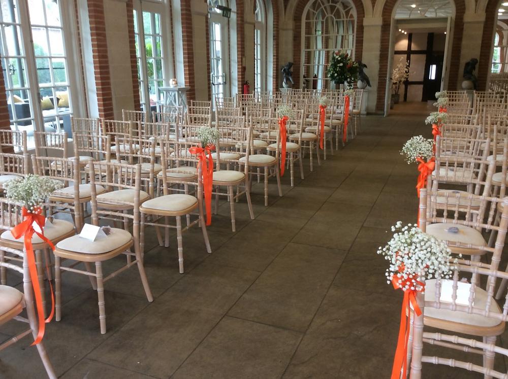 great fosters wedding flower display