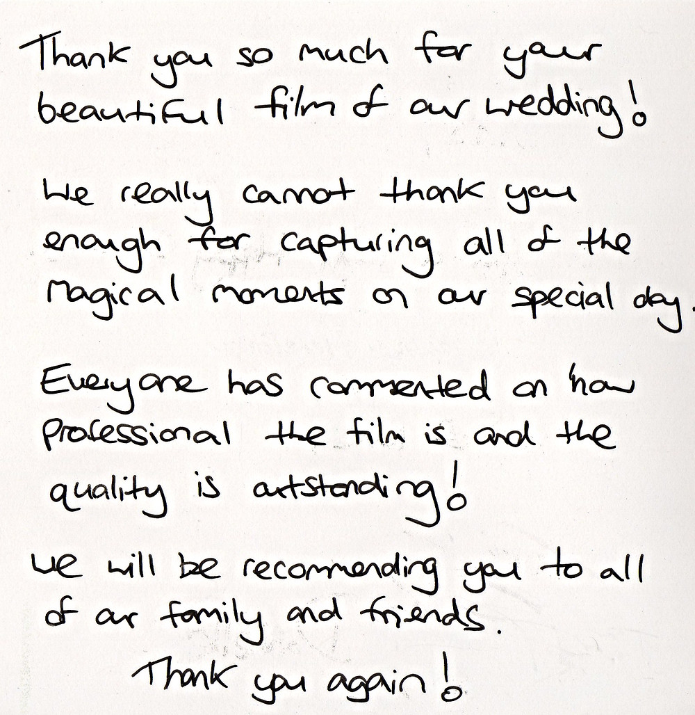 Thank you letter to wedding videographer