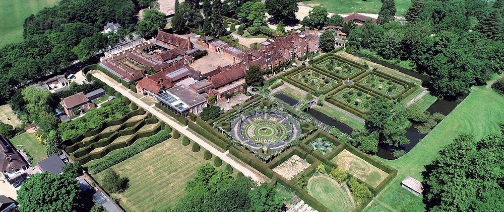 drone shot of great foster a wedding venue in surrey