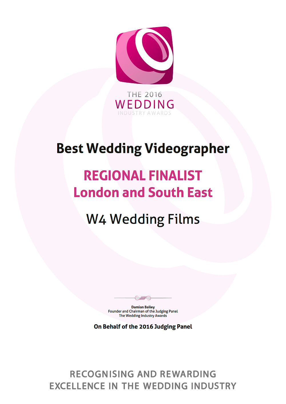 Award Winning wedding videographer from the Wedding Industry Awards