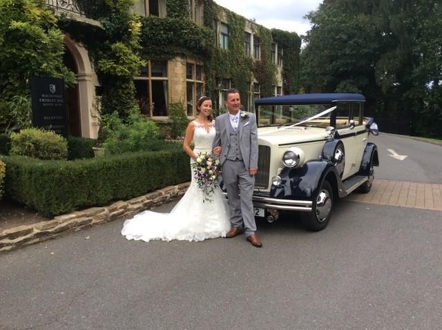 wedding car at frimley hall hotel