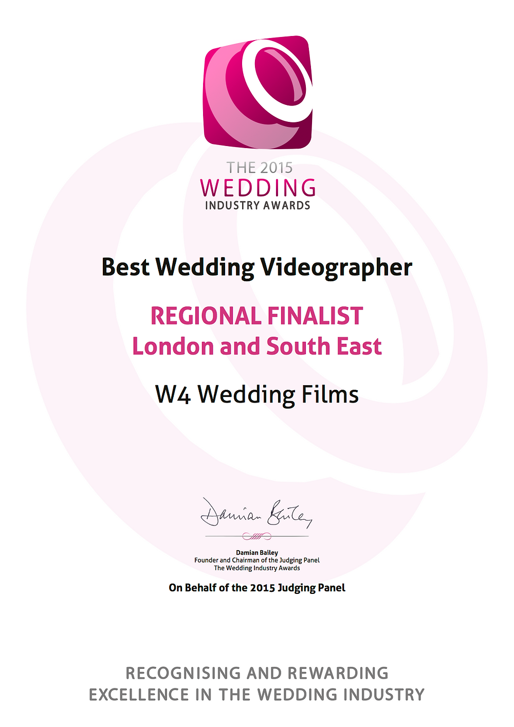 wedding industry awards certificate