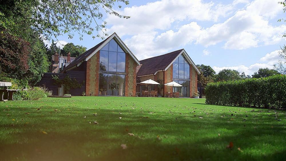 wide shot of millbridge court wedding venue in surrey