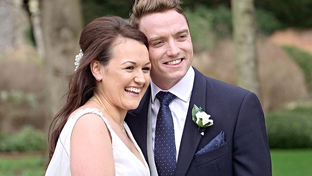 happy bride and groom at wedding