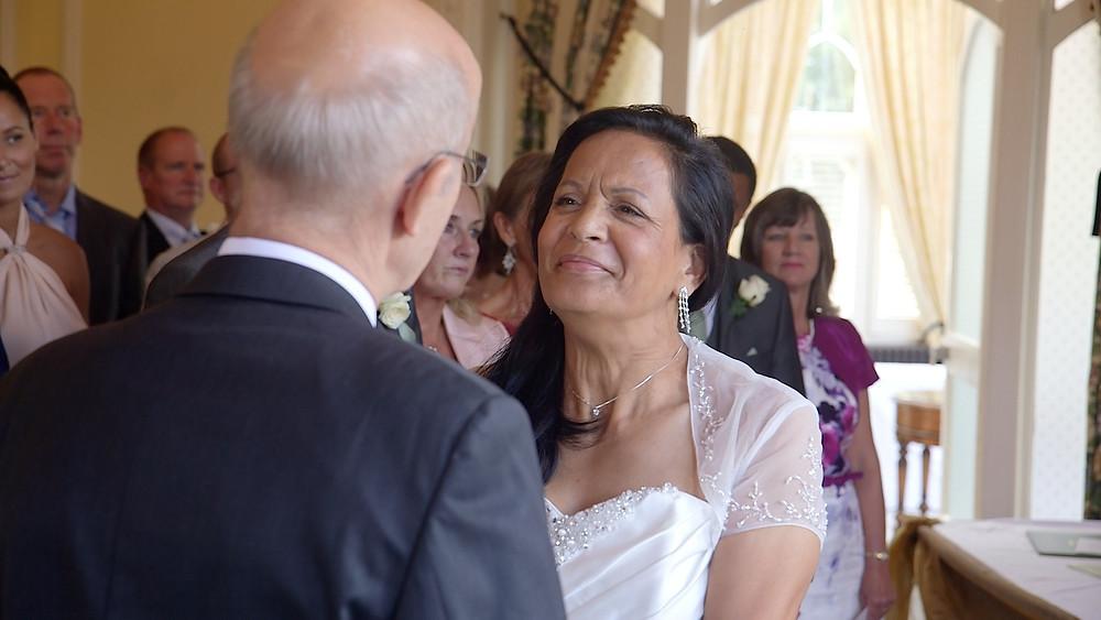 Wedding vows at Oakley Court