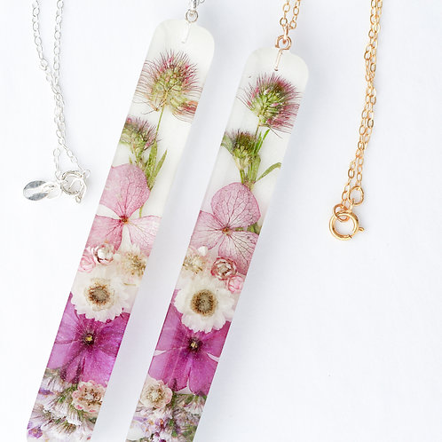 Bunny tail with purple verbena flower necklace