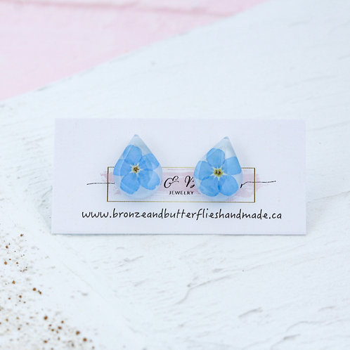 Teardrop large Forget me not earrings