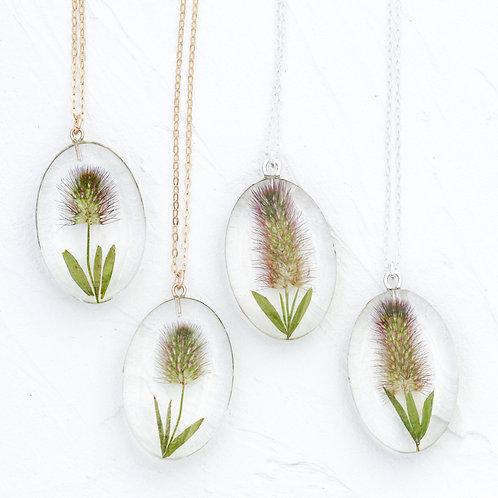 Small oval  bunny tail necklace