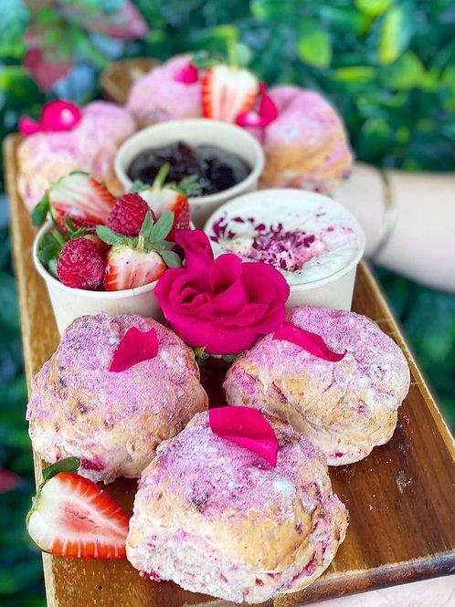 Raspberry, Strawberry & Pink Lemonade Scone & Wine