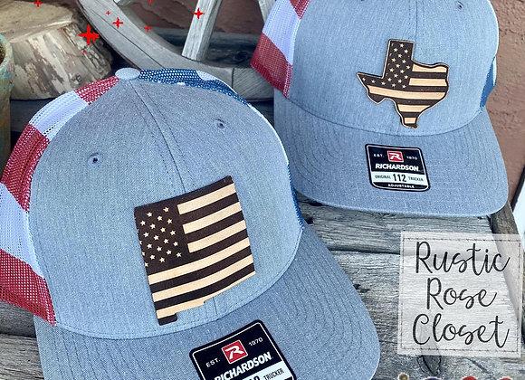 Patriotic America Leather NM & TX Patch Richardson Hats