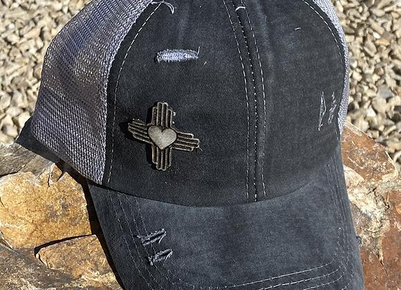 Cowhide Patch Zia Heart Gray Crisscross Ponytail Hat