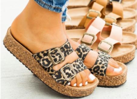 Leopard Slip on Sandal