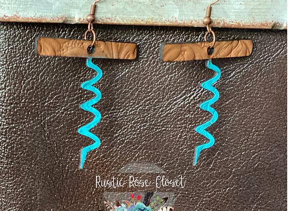 Cork Screw Leather Tooled Earrings Handpainted