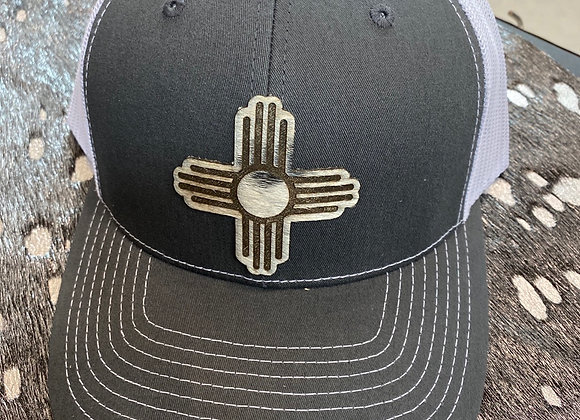 Cowhide Zia Patch on Richardson Charcoal/White Snapback Hat