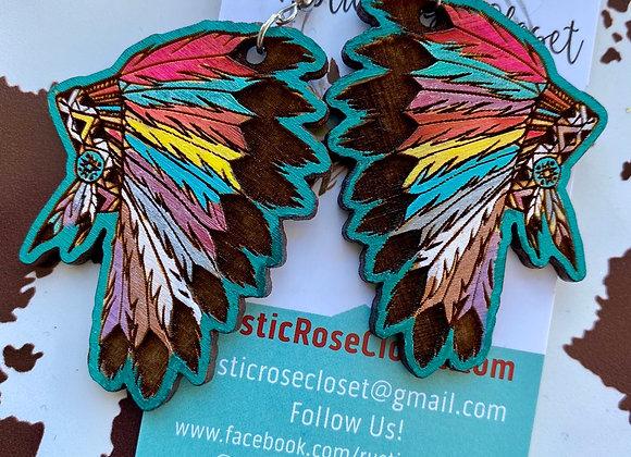 Indian Headress Bonnet Wood Earrings