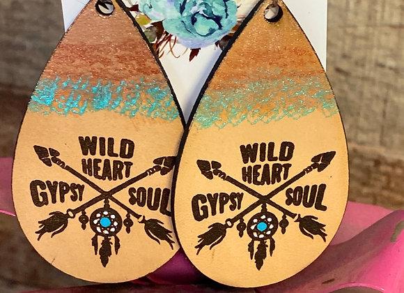 Wild Heart Gypsy Soul Leather Earrings