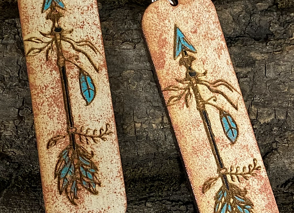 Boho Arrow Wood Earrings in Copper Turquoise