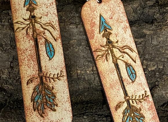 Boho Arrow Wood Earrings in Copper Turquoise