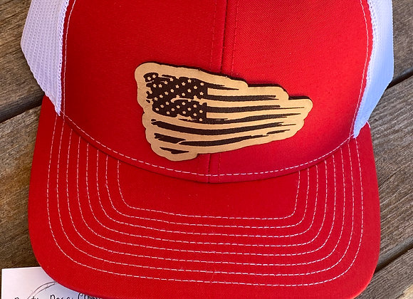 American Flag Flowing Leather Patch on Richardson Snapback Hat