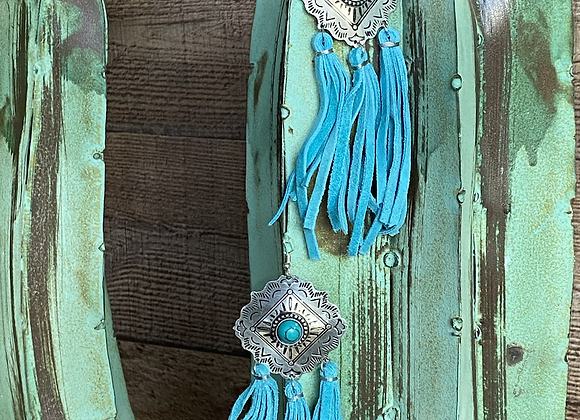 Cadillac Class Silver and Turquoise Fringe Earrings