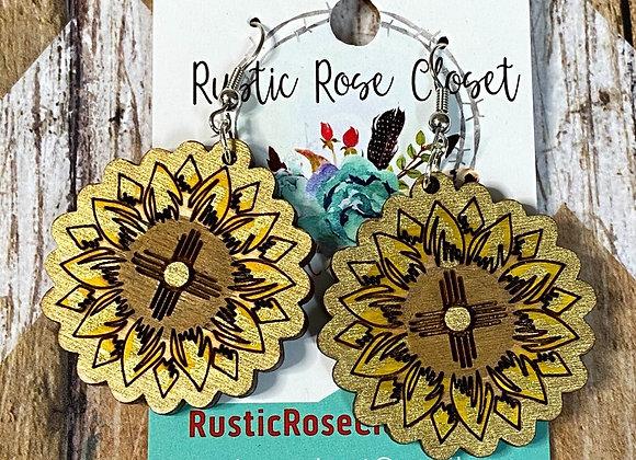 Zia Sunflower Wood Earrings