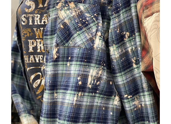 Bleached Navy & Teal Plaid Flannel
