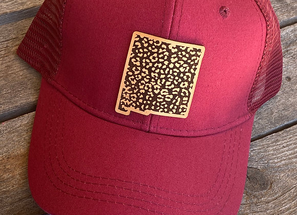 NM Shape Leopard Engraved Leather Patch Hats