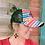 Thumbnail: Serape Diamond Pattern Crisscross Ponytail Messybun Hat with Cowhide Zia Patch