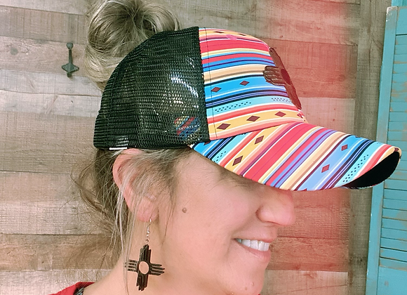 Serape Diamond Pattern Crisscross Ponytail Messybun Hat with Cowhide Zia Patch