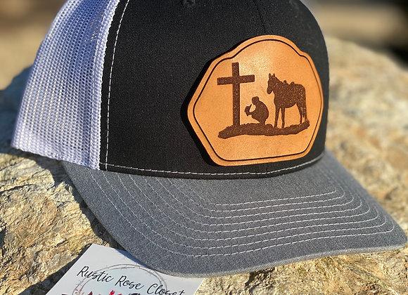 Kneeling Cowboy Leather Patch Richardson Snapback Hat