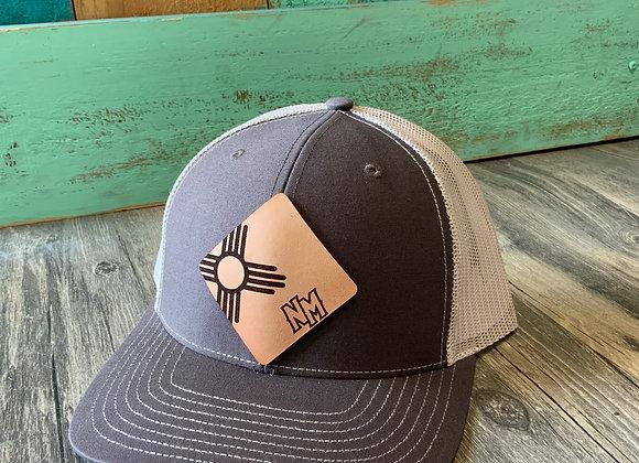 Zia NM on Diamond Shape Leather Patch Richardson Snap back Trucker Hat