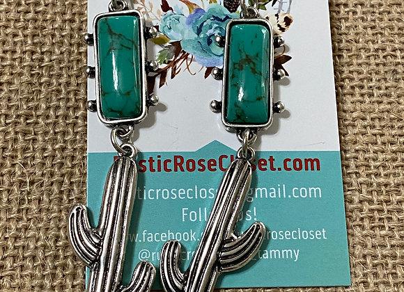 Cactus Dangle Serape & Turquoise Earrings