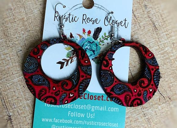 Open Circle Wood Paisley Earrings