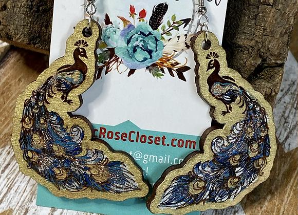 Peacock Wood Painted Earrings
