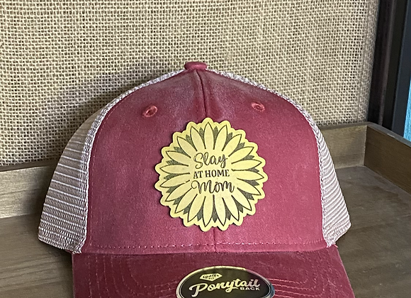 Slay at Home Mom Sunflower Leather Patch Ponytail Hat