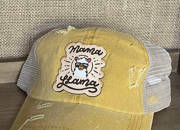 Mama Llama Leather Patch Ponytail Crisscross Hat