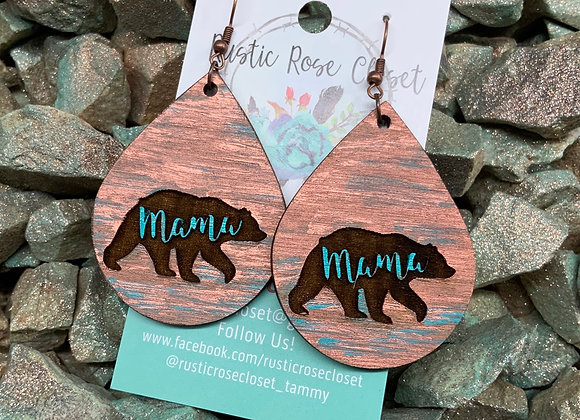 Mama Bear Wood Teardrops