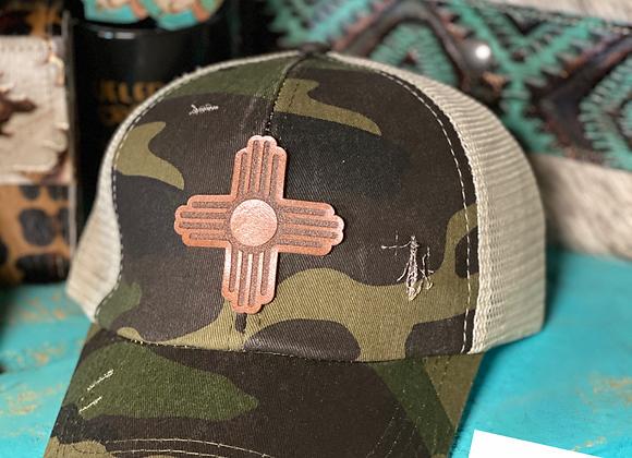 Bronze Zia Patch Camo Criss cross Ponytail Hat