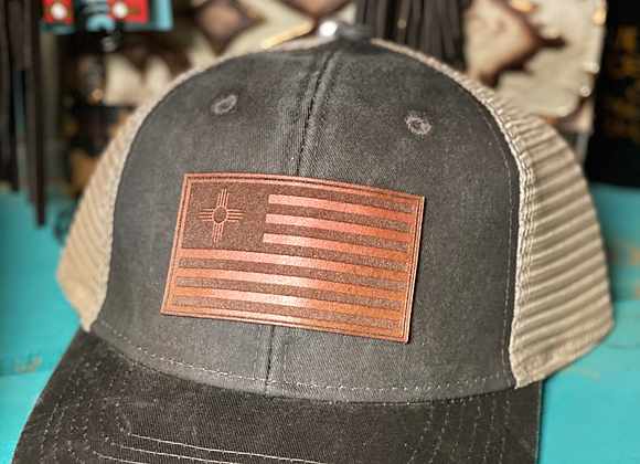 NM Flag Leather Patch Ponytail Hat