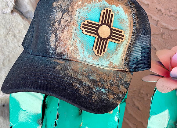 Zia Leather Patch Painted Teal & Rosegold Ponytail Hat