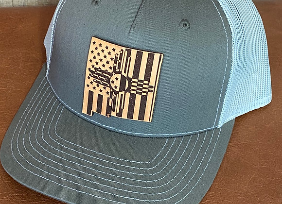 Zia Flag NM Shaped Leather Patch Richardson Hats