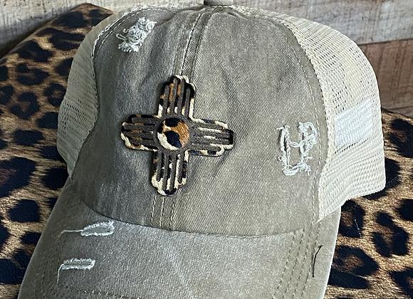 Zia Leopard Cowhide Patch on Crisscross Ponytail Hat