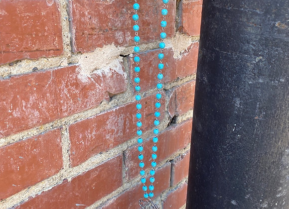 Turquoise Bead Long Necklace with Rhinestone Deer