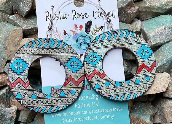Aztec Open Circle Wood Earrings