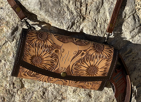 Tooled Leather Steer & Sunflower Wallet Crossbody