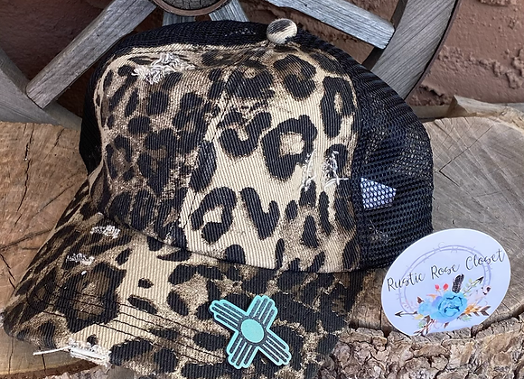 Leopard Ponytail Crisscross Hat with Leather Patch